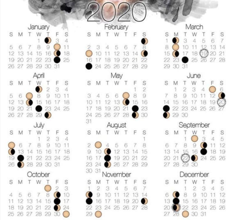 Изображение лунного календаря на 2020