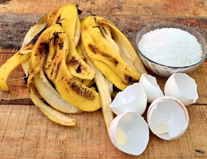 Фото банановой кожуры и яиц